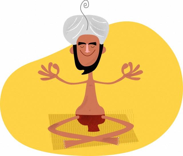 An Indian man meditating