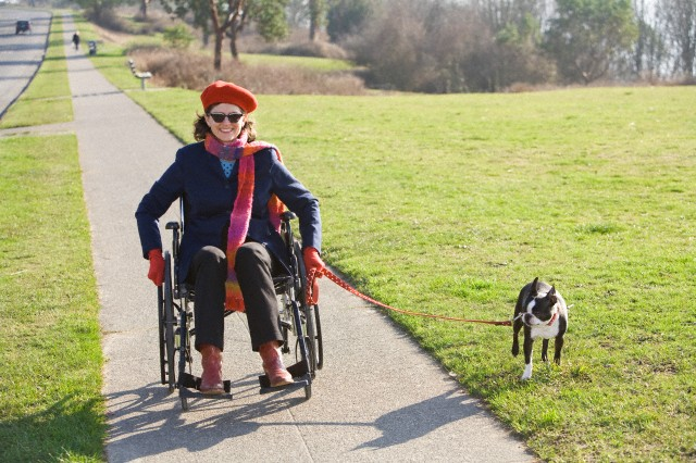 Woman in wheelchair taking her dog for a walk