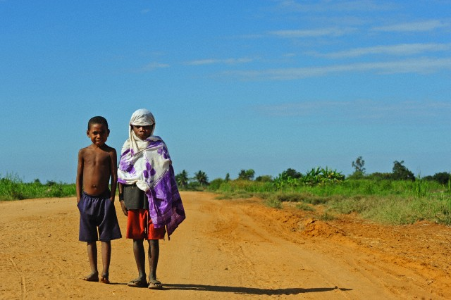 Madagascar, Morondava, Baobab Alley, two young children on the road