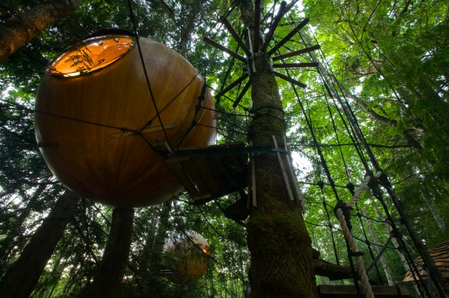 'Free Spirit Spheres,' a popular alternative night stays while visiting the Central Vancouver Area. near Errington and Qualicum Beach, Central Vancouver Island, British Columbia, Canada